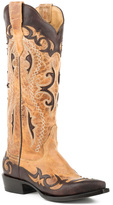 Stetson Crackled Brown & Tan Embroidered Leather Cowboy Boot