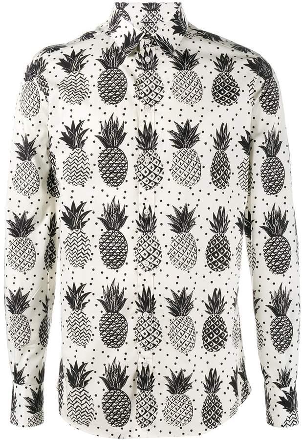 Dolce & Gabbana pineapple print poplin shirt