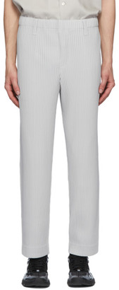 Homme Plissé Issey Miyake Grey Pleated Straight Trousers