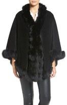 Blue Duck Genuine Fox Fur Trim Wool Blend Cape