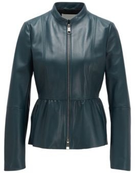 BOSS Slim-fit leather jacket with shirred waist