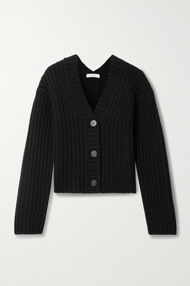 Vince Cropped Ribbed Wool And Cashmere-blend Cardigan - Black
