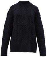 Jil Sander Shetland Wool Cable-knit Sweater - Womens - Navy