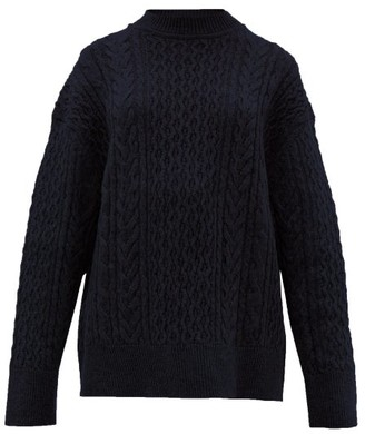 Jil Sander Shetland Wool Cable-knit Sweater - Womens - Navy
