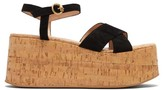 Gianvito Rossi Billie 20 Suede Wedge Sandals - Womens - Black