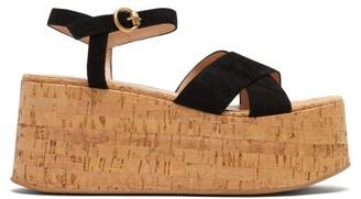 Gianvito Rossi Billie 20 Suede Wedge Sandals - Womens - Black