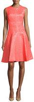 Lela Rose Metallic Tweed A-Line Dress, Red
