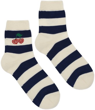 Gucci Striped cotton socks with cherry