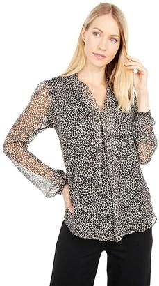MICHAEL Michael Kors Leopard Inverted Pleat (Caramel) Women's Clothing