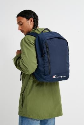 Champion Script Logo Backpack - Blue ALL at Urban Outfitters