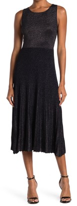 Bailey 44 Lydia Metallic Pleated Skirt Midi Dress