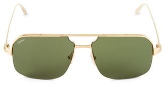 Cartier 59MM Goldtone Aviator Sunglasses