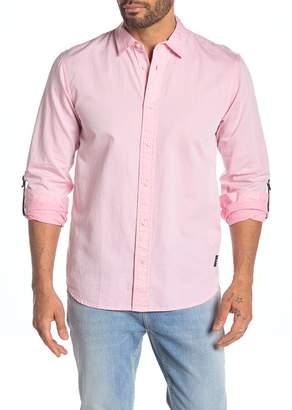 Scotch & Soda Solid Roll-Up Sleeve Regular Fit Shirt