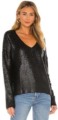 Bobi BLACK Coated Chunky V-Neck Sweater