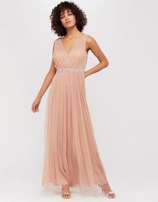 Monsoon Elyse Embellished Waist Tulle Maxi Dress Pink