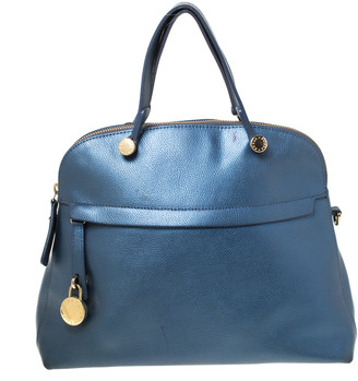 Furla Blue Metallic Leather Piper Dome Satchel