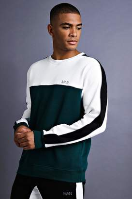 boohoo MAN Sweater With Panel And Piping Detail