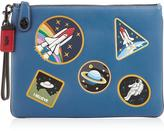 Coach Space Patches Turn Lock Clutch- Blue