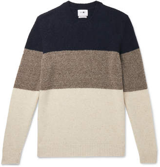 NN07 Ed Striped Boucle And Donegal Wool-Blend Sweater