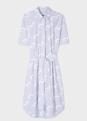 Paul Smith Women's Blue Pinstripe 'Sunglasses' Shirt Dress