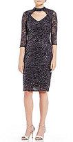 Marina Mock Neck Keyhole Sequin Lace Dress