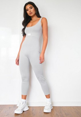 Missguided Recycled Gray Msgd Seam Detail Knit Unitard Romper