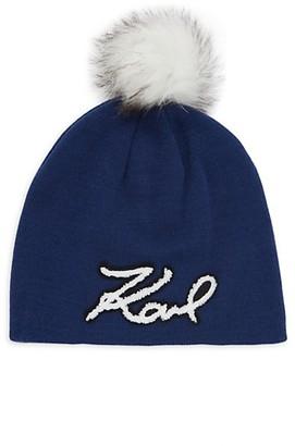 Karl Lagerfeld Paris Faux Fur Pom-Pom Knit Beanie