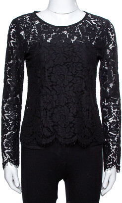 Dolce & Gabbana Black Sheer Lace Scalloped Blouse M