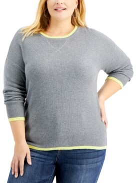 Style&Co. Style & Co Plus Size Thermal Waffle Pullover Sweater, Created for Macy's