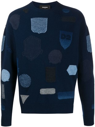 DSQUARED2 Patchwork Embroidered Jumper