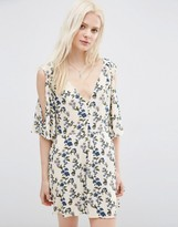 Asos Pretty Cold Shoulder Ditsy Playsuit