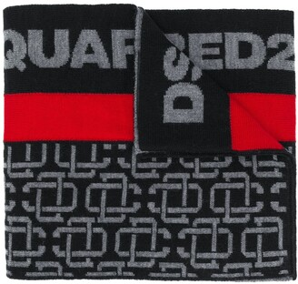 DSQUARED2 Logo Chain Print Wool Scarf
