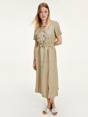 Tommy Hilfiger Short Sleeve Belted Midi Dress