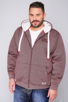Yours Clothing D555 Burgundy Marl Fleece Lined Hoodie