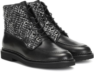 Tod's Exclusive to Mytheresa leather and tweed ankle boots