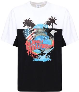 Vetements Planet Holly Cut Up Print Cotton T-Shirt