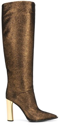 Casadei Glitter Metallic Heel Knee-High Boots