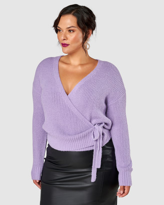 Pink Dusk - Women's Purple Jumpers - Flirty & Fluffy Wrap Jumper - Size One Size, 10/12 at The Iconic