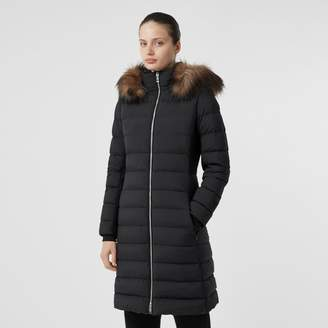 Burberry Detachable Faux Fur Trim Hooded Puffer Coat