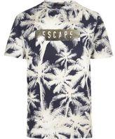 River Island MensNavy palm tree print T-shirt