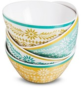 Mudhut Marika Melamine Bowls Set of 4 Blue/Gold