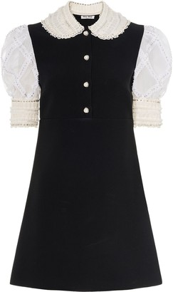 Miu Miu Puff-Sleeve Embellished Cady Dress