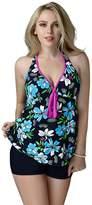 Crazycatz@ Crazycatz© Women Two Piece Swimwear Tankini Sets Swimdress+Boyshots
