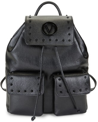 Mario Valentino Valentino By Simeon Rockstud Pebbled-Leather Backpack