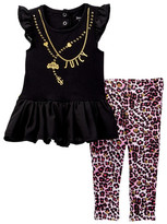 Juicy Couture Necklace Graphic Chiffon Bottom Tunic & Legging Set (Baby Girls)