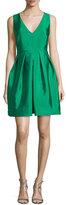 Erin Fetherston Sleeveless Pleated Taffeta Mini Dress, Kelly Green