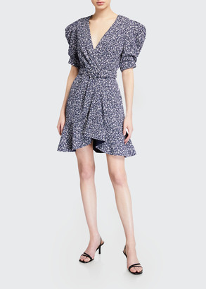 Jonathan Simkhai Evelyn Floral Crepe Belted Dress