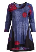 Aller Simplement Blue & Black Medallion Sidetail Shift Dress - Plus Too