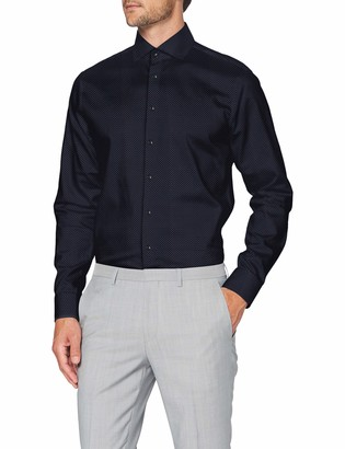 Seidensticker Men's Shaped Langarm Print Twill Dress Shirt