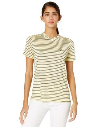 Lacoste Women's S/S Crewneck Striped Jersey TEE Shirt